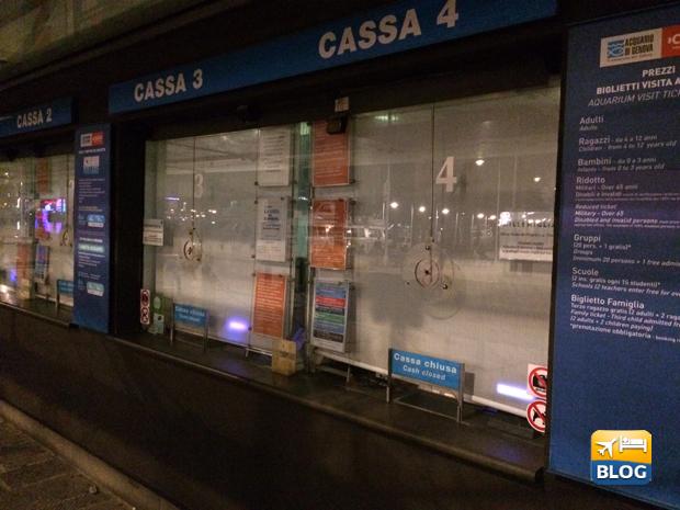 Biglietteria dell'acquario di Genova