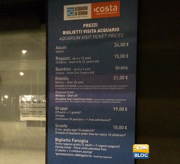 Tabella prezzi dell'acquario di Genova