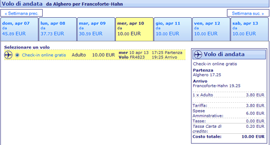 Volo Alghero Francoforte Hahn