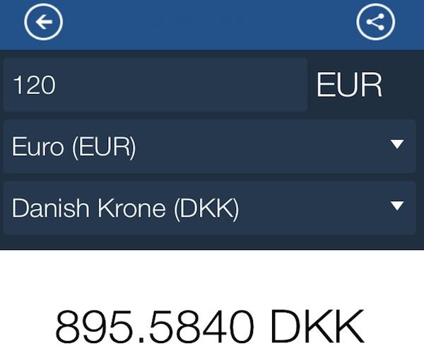 Il convertitore di valuta nell'App di Volopiuhotel.com