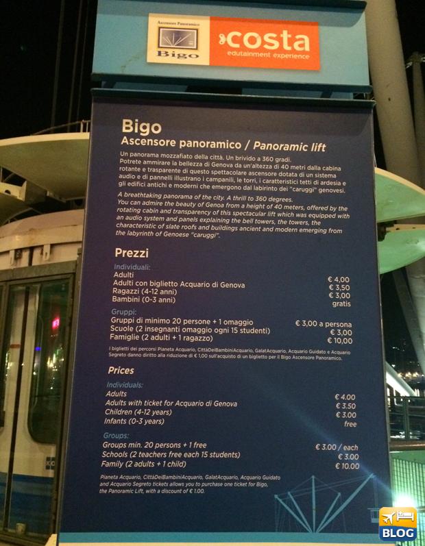 Prezzi del Bigo a Genova