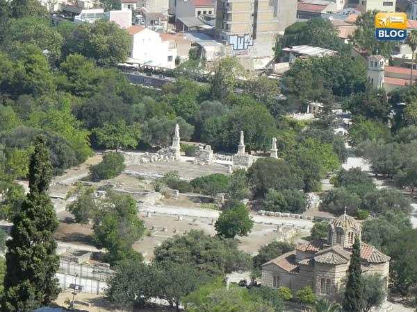 Veduta dall'acropoli dell'agorà di Atene