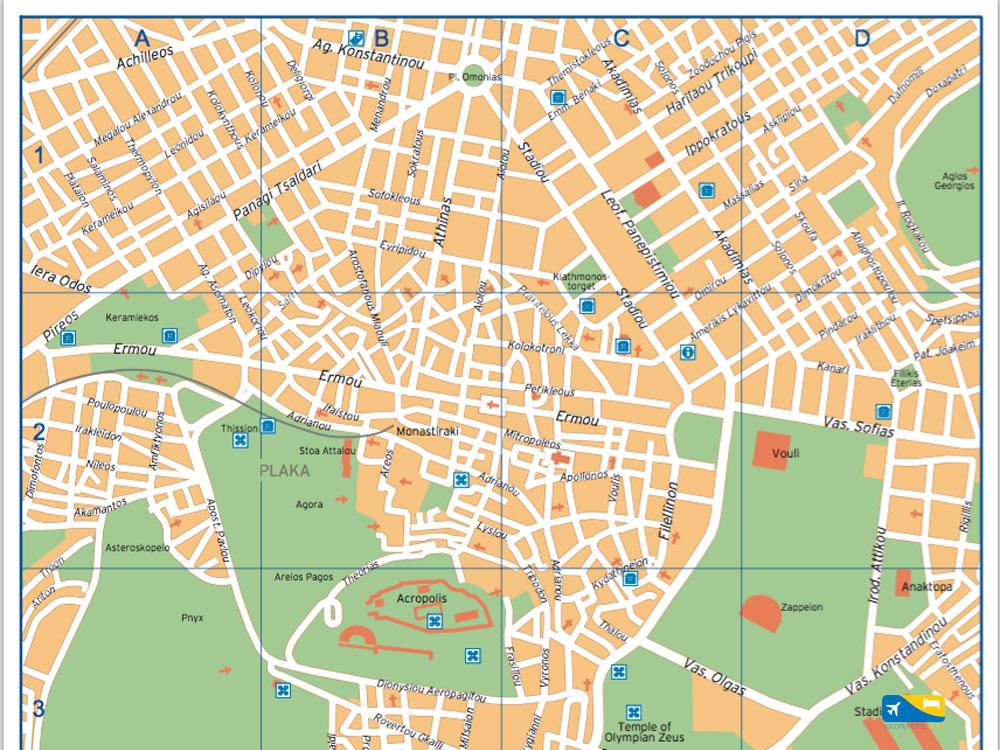 Cartina del Centro di Atene