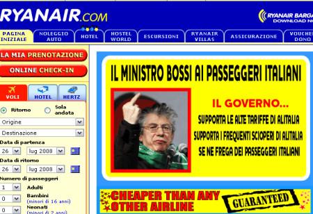 Promo Ryanair con Bossi