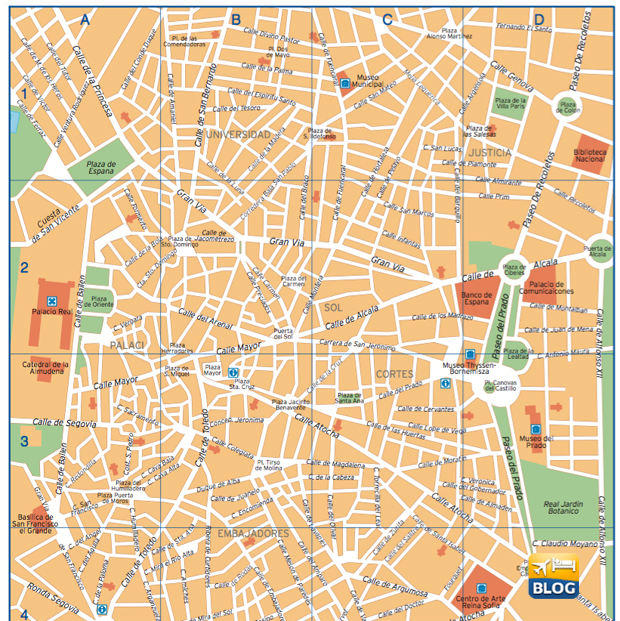 Cartina del centro di Madrid