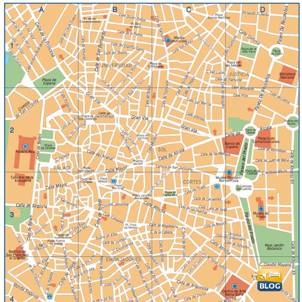 Cartina del centro di Madrid