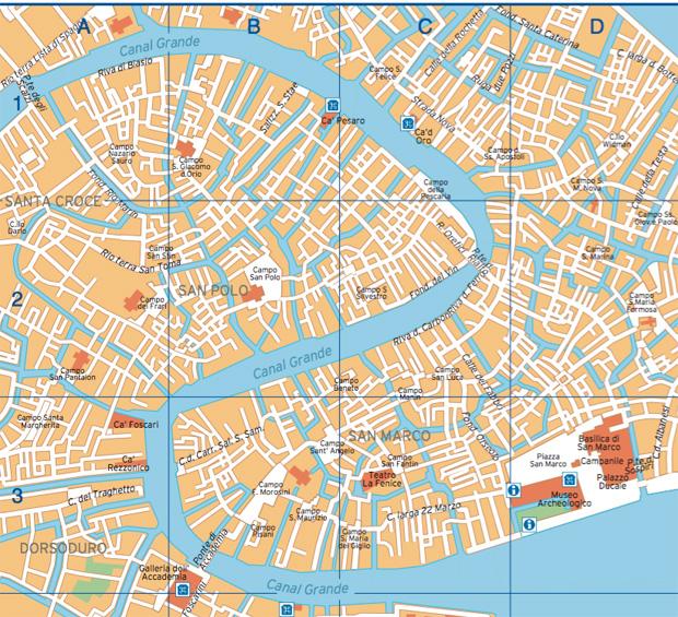 Cartina del Centro di Venezia