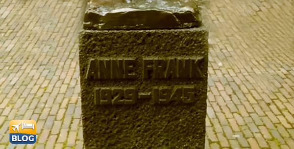 Statua di Anne Frank al di fuori del Museo