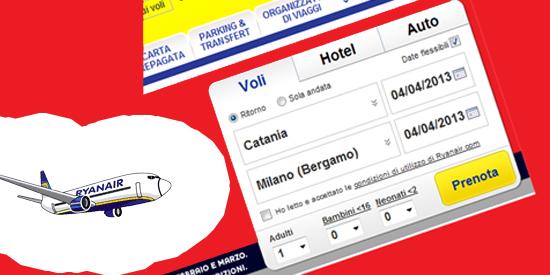 Volo Ryanair Catania Milano