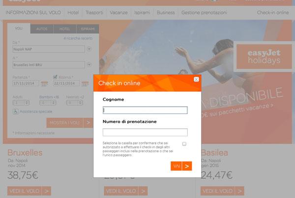 Check-in online inserimento dati Easyjet