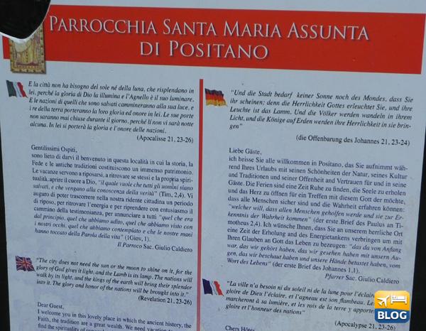 Cartello di benvenuto nei pressi della Chiesa di S.Maria Assunta a Positano