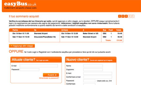 Easybus Londra booking