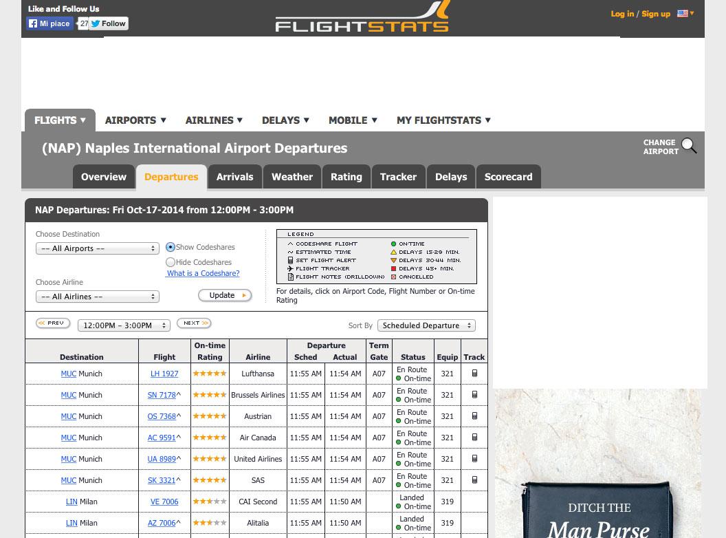 Flight Stats motore di ricerca