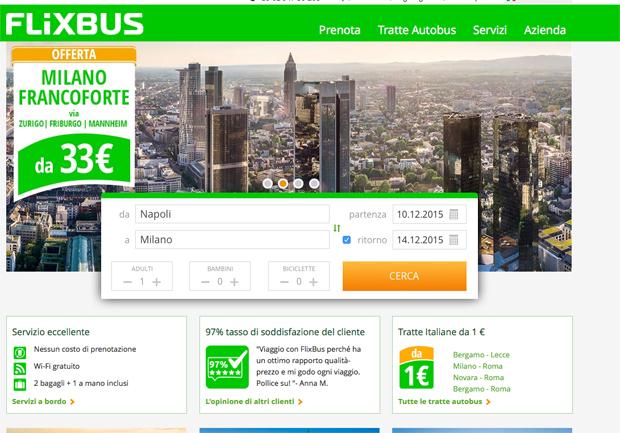 Home Page del sito Flixbus