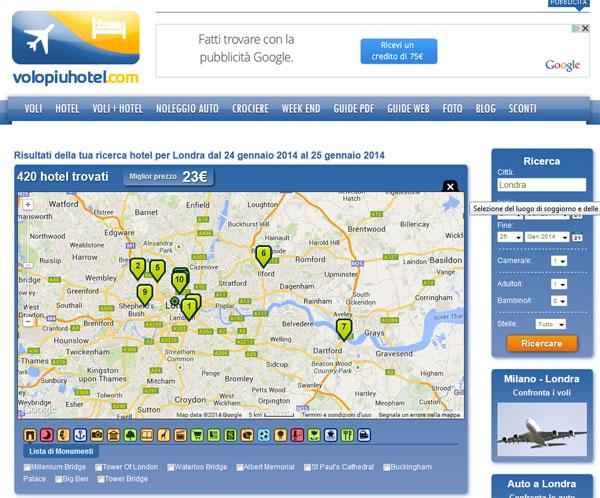Mappa con hotel indicati