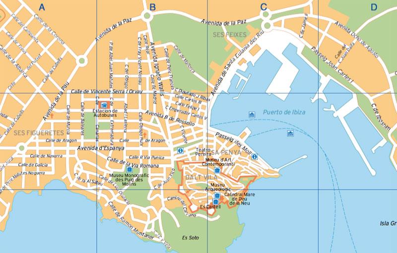 Cartina del centro di Ibiza