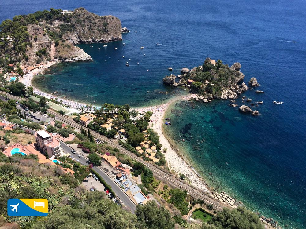 Panoramica di Isola Bella a Taormina