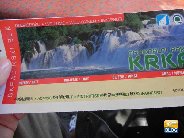 Ticket d'ingresso a Krka