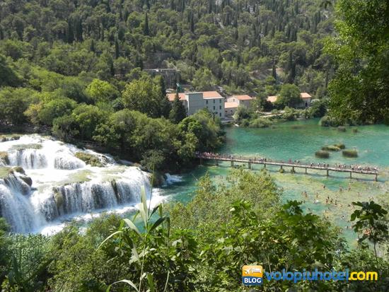 Veduta dall'alto del parco di Krka