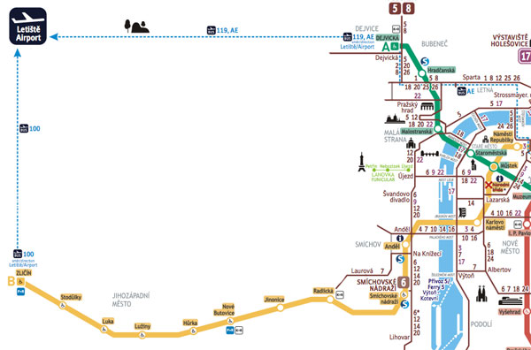 Mappa dei Bus di Praga