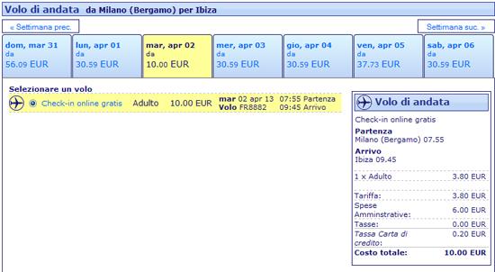 Volo Milano Ibiza a 10 euro