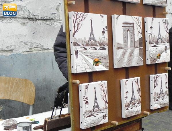 Opere di alcuni artisti a Montmartre