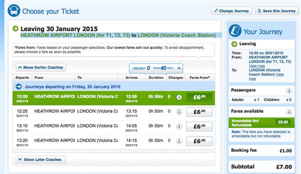 National Express da Heathrow a Londra Victoria