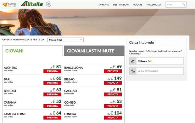 Offerte giovani sul sito Alitalia