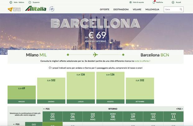 Prezzi tariffe giovani Alitalia