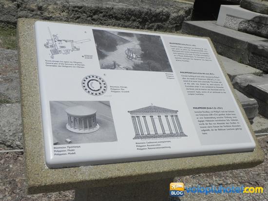 Tabella con indicazioni ad Olimpia