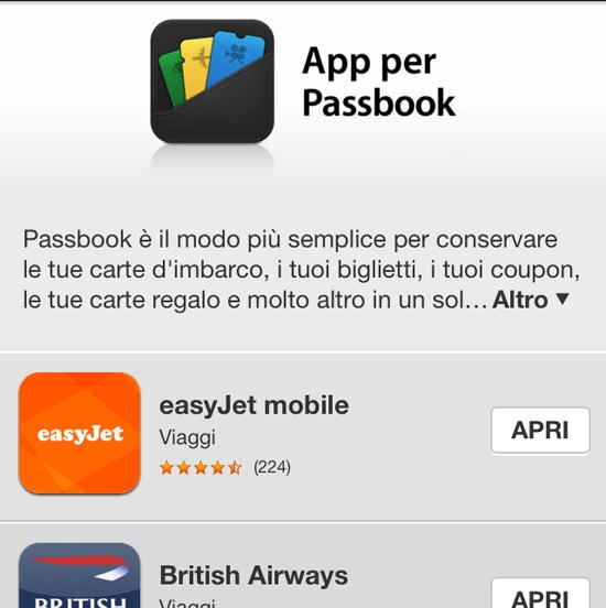 Applicazioni per Passbook