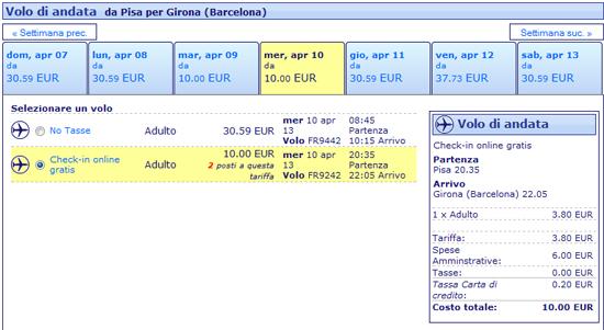 Volo Pisa Girona Ryanair