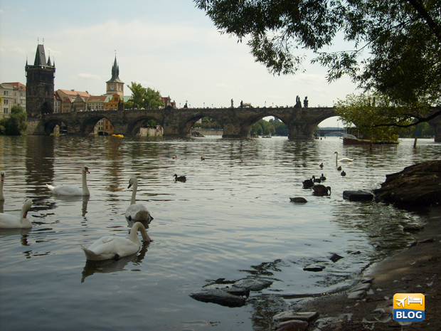 Ponte Carlo a Praga visto dal basso