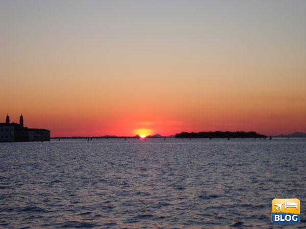 Il tramonto sulla laguna di Venezia
