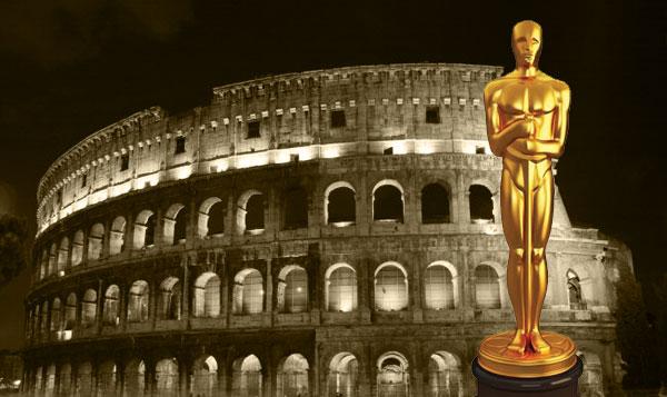 Roma il Colosseo e una statuina dell'Oscar