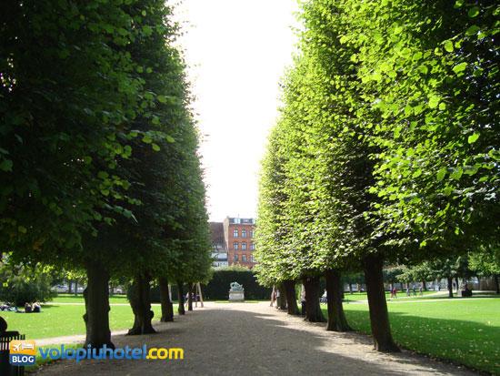 Il viale con i bellissimi giardini reali