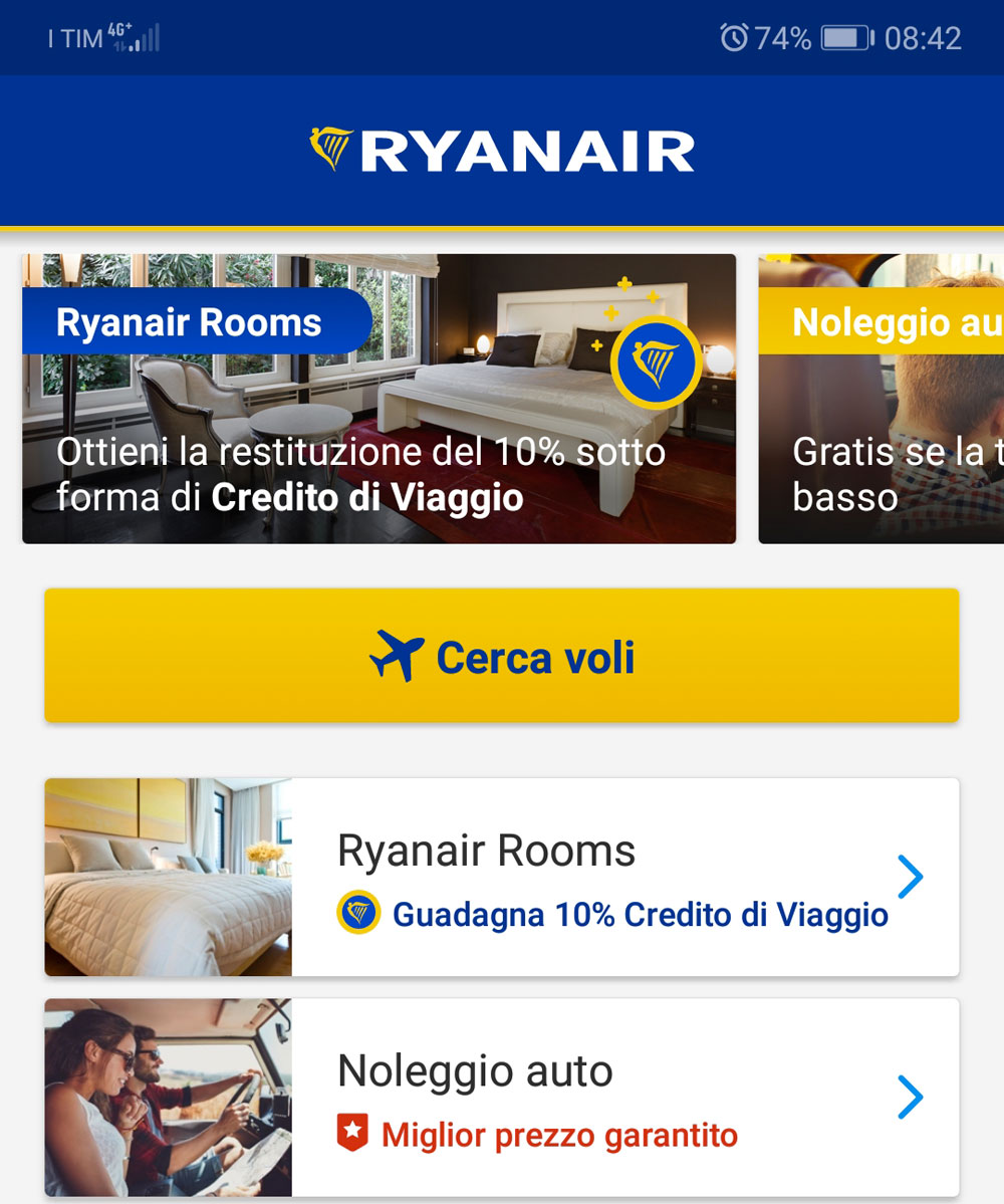 Ryanair App cerca voli