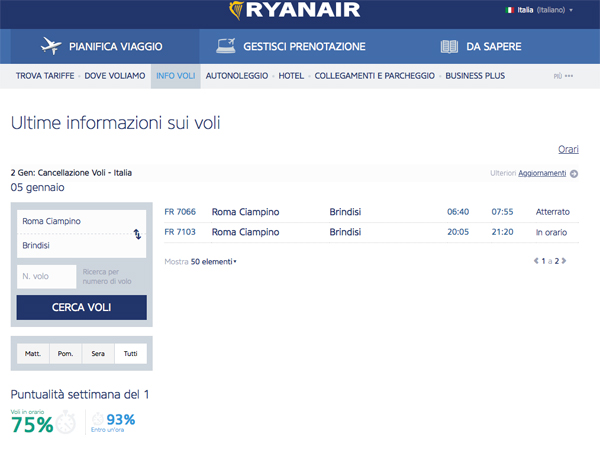 Info volo Ryanair online