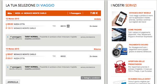 Prenotazione online per un treno da Nizza a Montecarlo