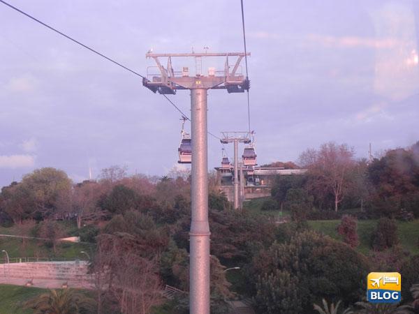 La teleferica vista dal basso di Montjuic