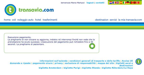 Attesa pagamento effettuato su Transavia