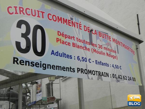 I prezzi del trenino di Montmartre