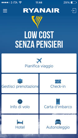 Home dell'App di Ryanair