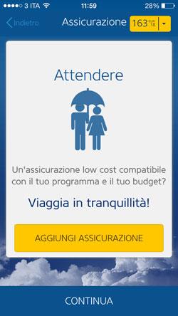 Assicurazione di viaggio Ryanair da App