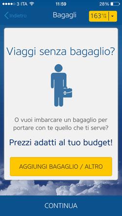 Bagaglio Ryanair in App