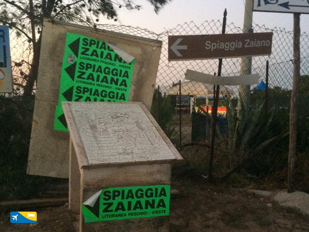 Indicazioni per spiaggia di Zaiana