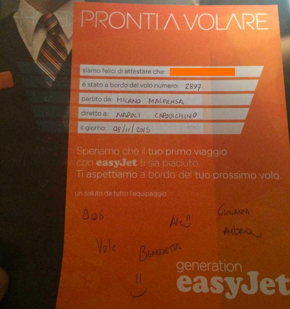 Easyjet Battesimo dell'aria