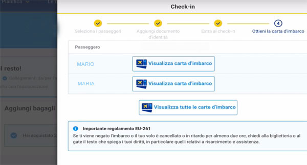 Check-in Ryanair passo finale