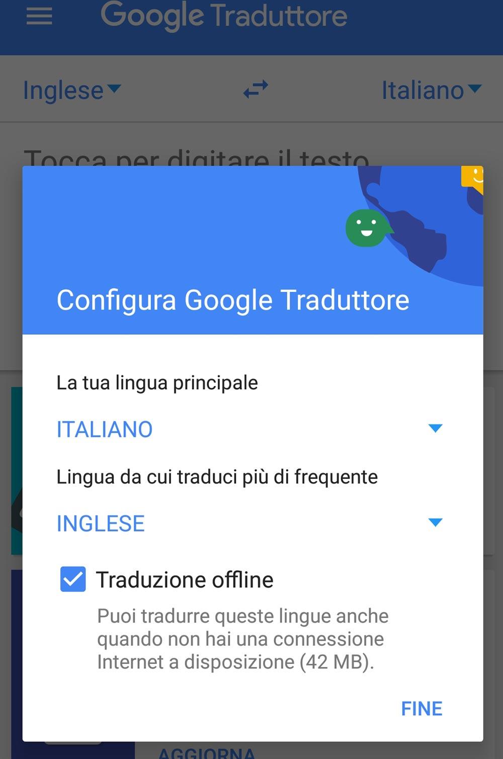 Configurazione traduttore