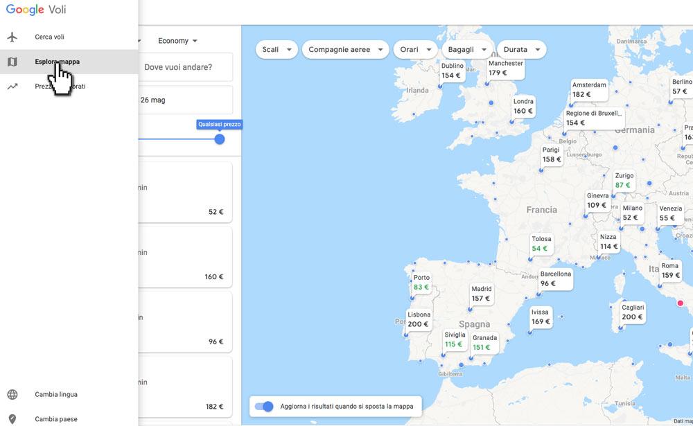 Google Voli con mappa